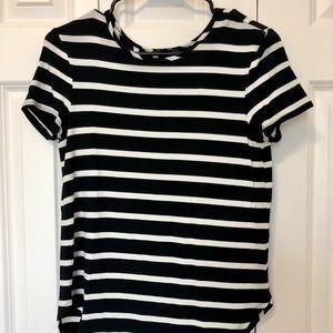 Tops - Black white striped shirt